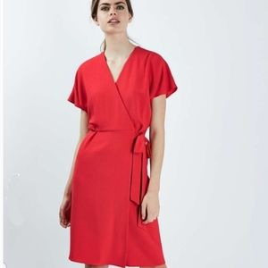 TOPSHOP Red Wrap Dress Size 4